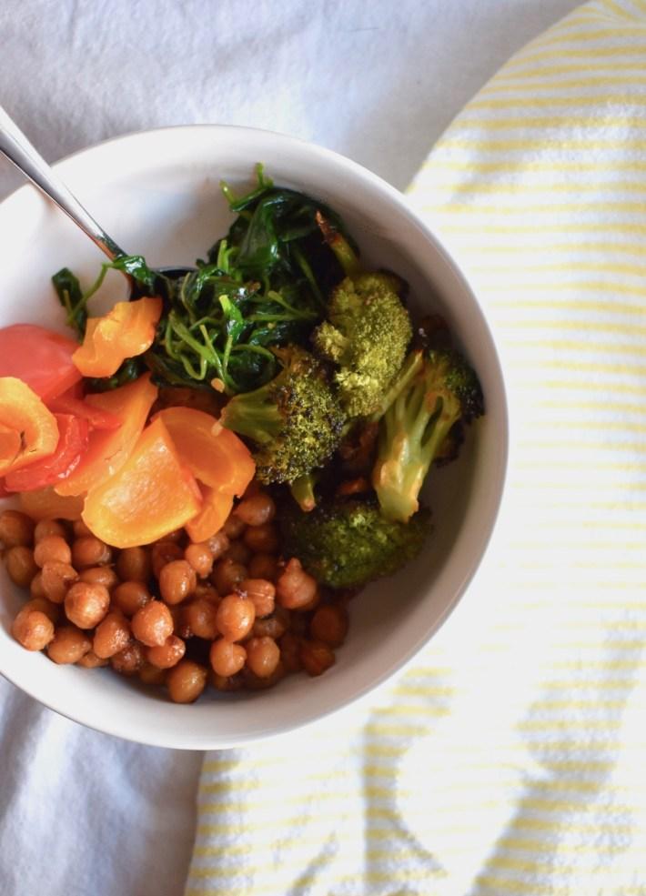 Spicy Veggie Bowl with sriracha sheet pan veggies