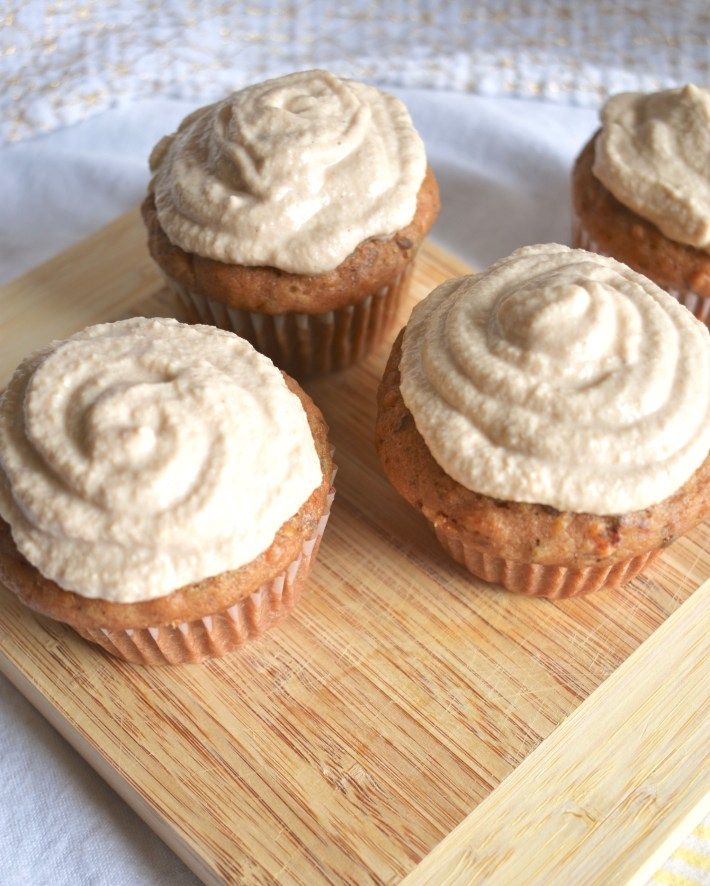 vegan carrot cake cupcakes and cashew cream frosting
