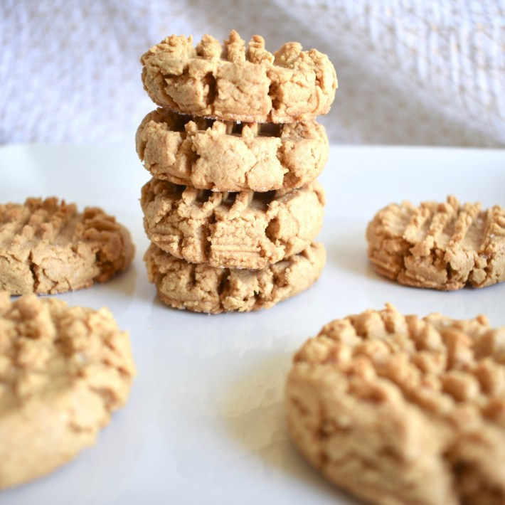 stack of peanut butter vegan cookies, 4 ingredient