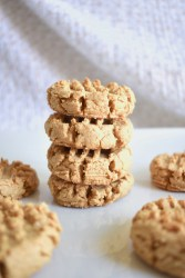 stack of vegan peanut butter cookies
