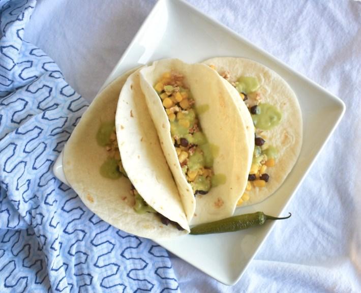 vegan chickpea street tacos with avocado sauce
