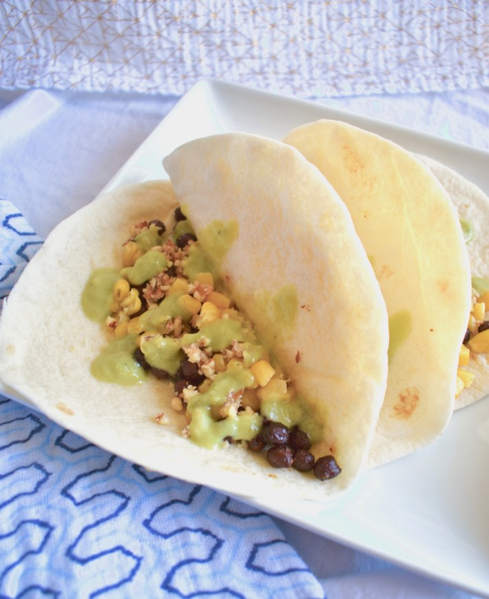 vegan street tacos corn chickpea