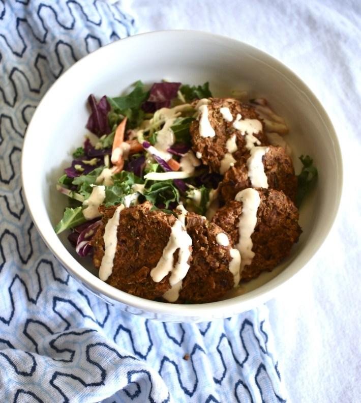 vegan falafel salad with tangy tahini sauce