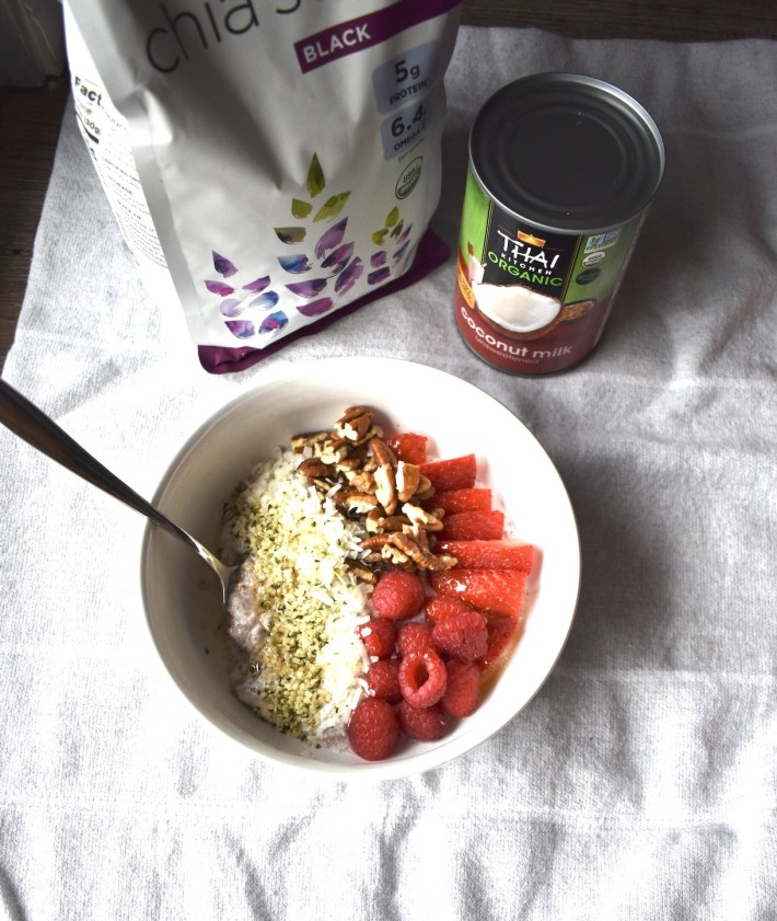 blended strawberry chia pudding bowl