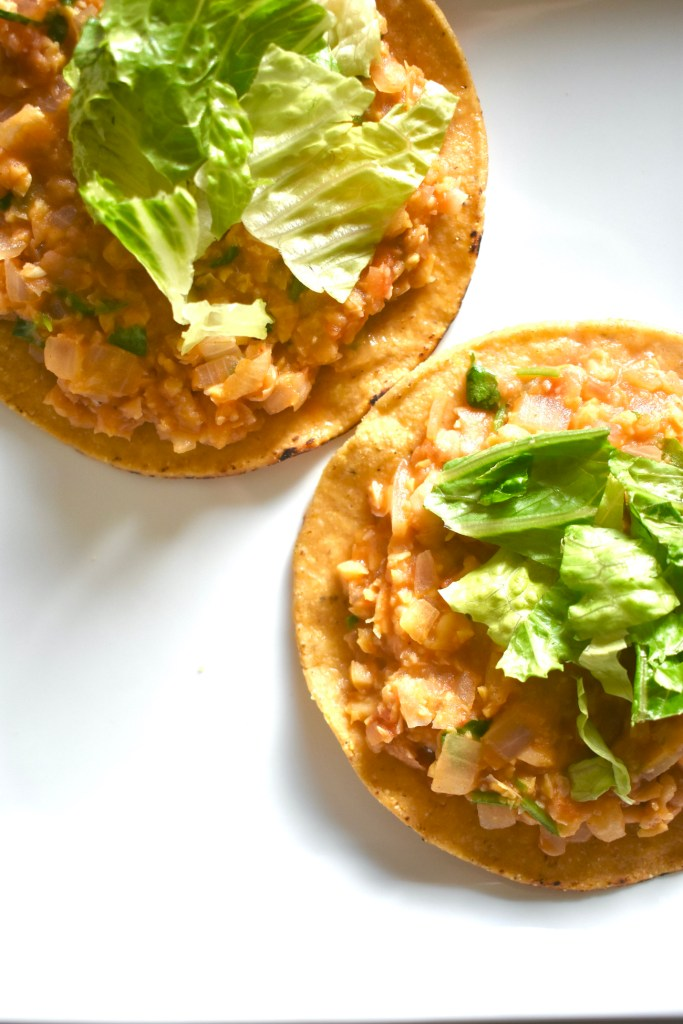 easy chickpea tostadas with lettuce