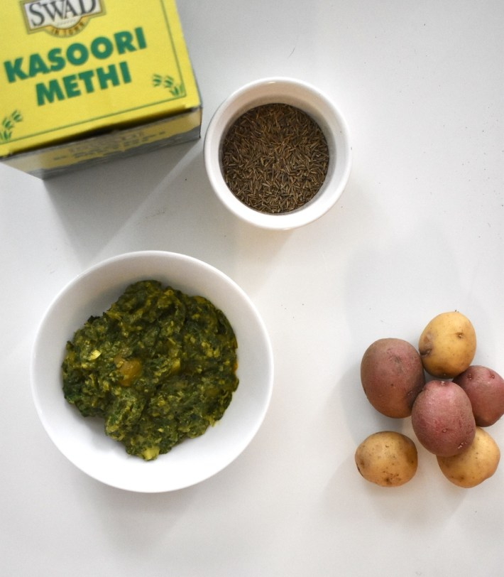 restaurant style aloo saag curried potatoes and spinach or mustard greens