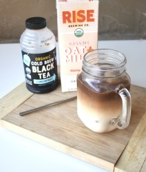 oatmilk honey latte with tea