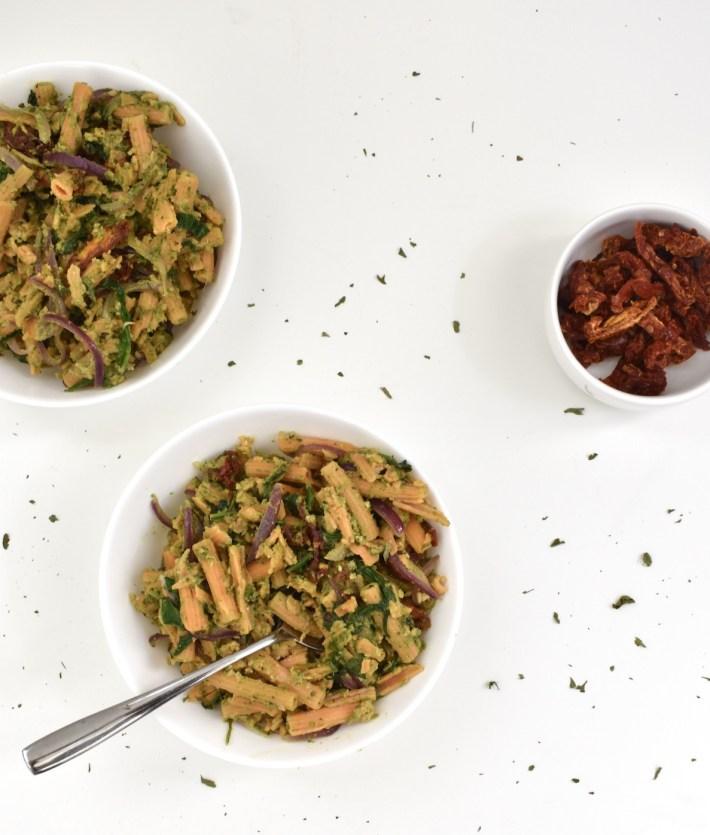 Vegan Veggie Pesto Pasta with Gluten-Free High-Protein Noodles