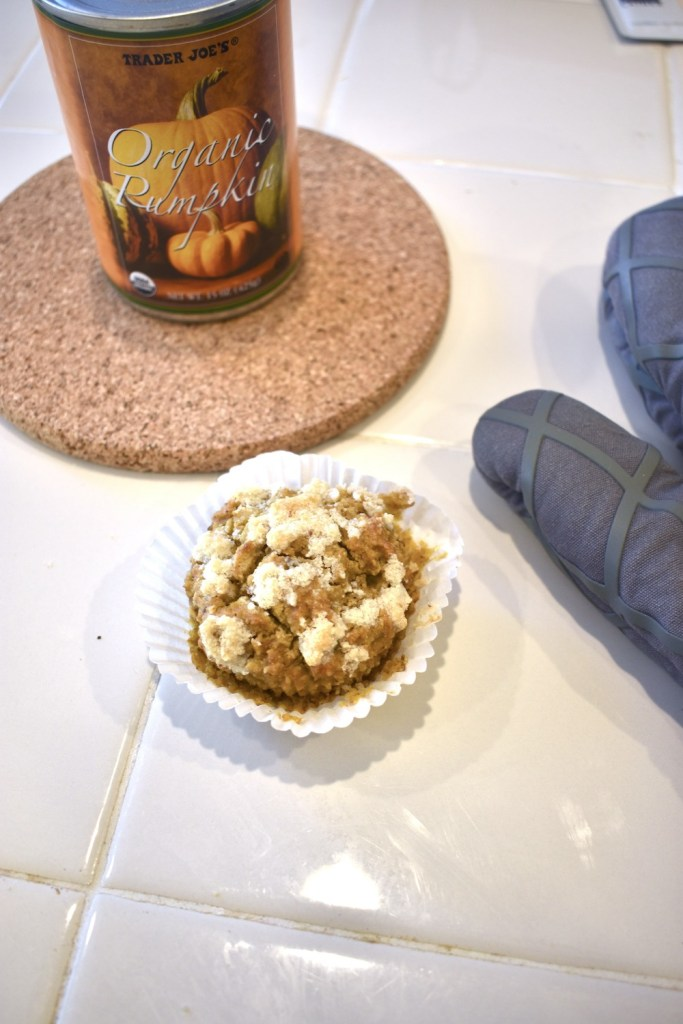 Vegan pumpkin muffins with strudel one bowl