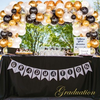 cool high school graduation party decor gold and white balloon garland