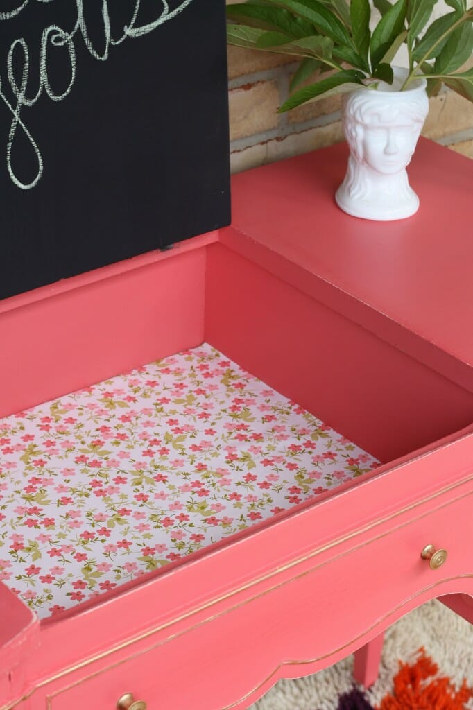 inside of coral vanity- vintage contact paper