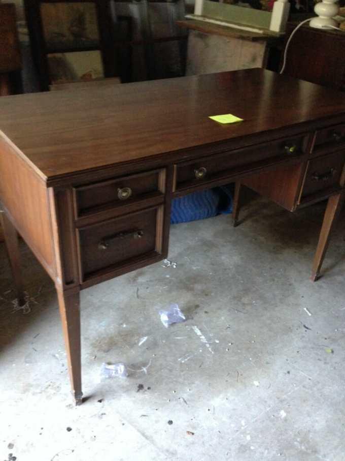 coastal blue desk before