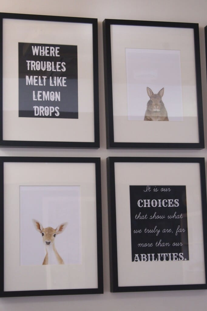 animal print shop and book quote gallery wall in playroom