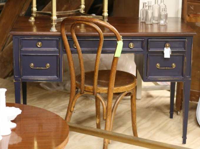 Coastal Blue Desk with Bentwood