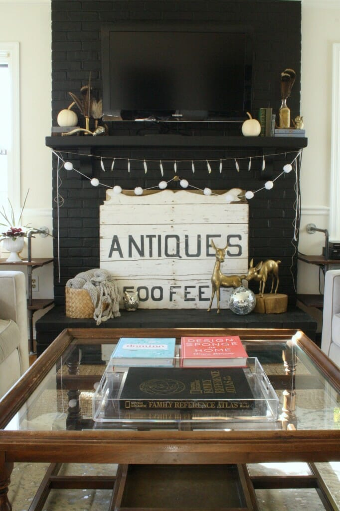 black living room mantle, eclectic living room