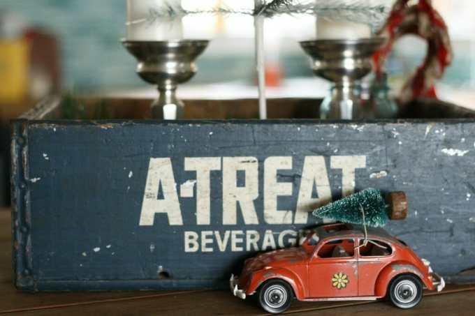 vintage bug with christmas tree