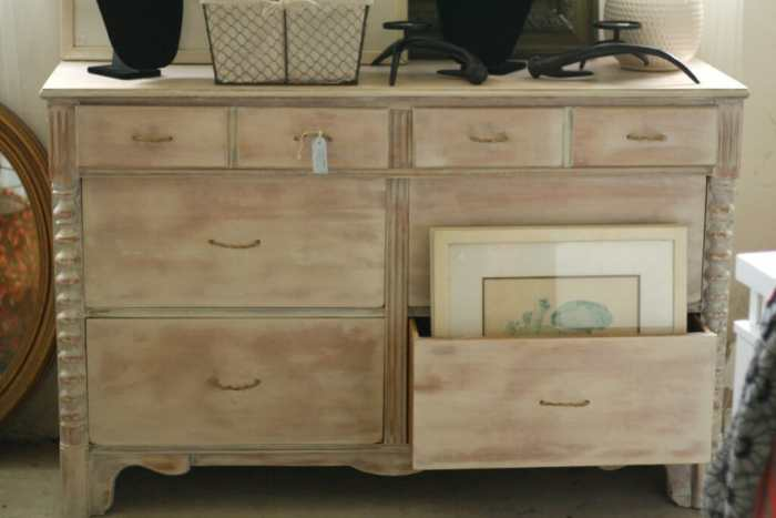 Washed Dresser with DIY rope pulls