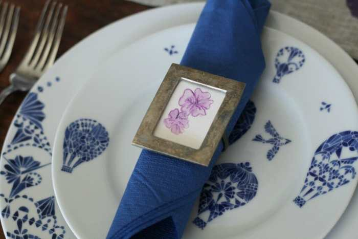 watercolor flower napkin ring