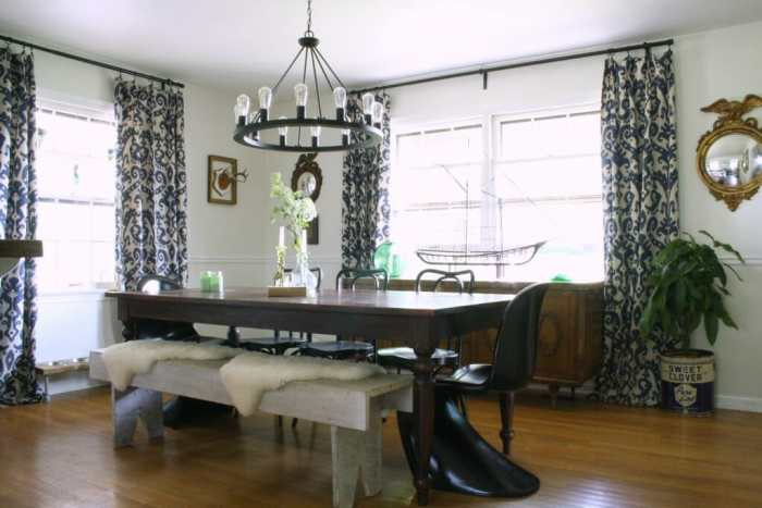 White Vintage Eclectic Dining Room with black and navy, fresh greens