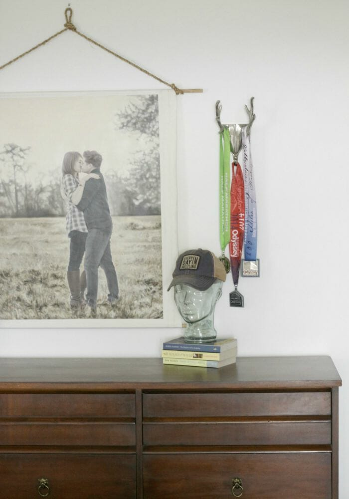 Master Bedroom Makeover with White Walls- Glass Head as hat holder