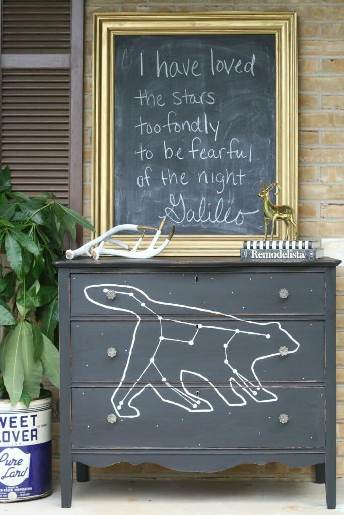 DIY constellation painted dresser