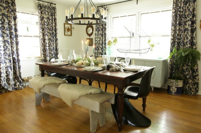 Thanksgiving Dining Room in blues & greens