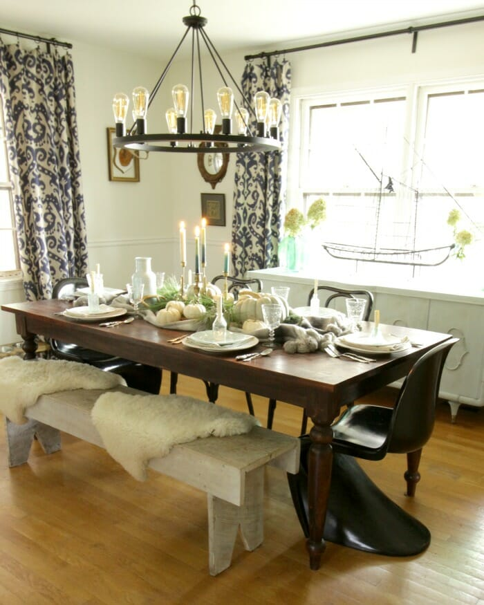 Dining Room in Blues & Greens for Thanksgiving