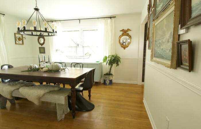 White Rustic & Vintage Dining Room with Soft Blues & Black Accents 3
