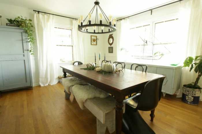 White Rustic & Vintage Dining Room with Soft Blues & Black Accents 6