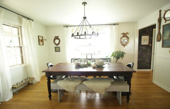 White Rustic & Vintage Dining Room with Soft Blues & Black Accents 7