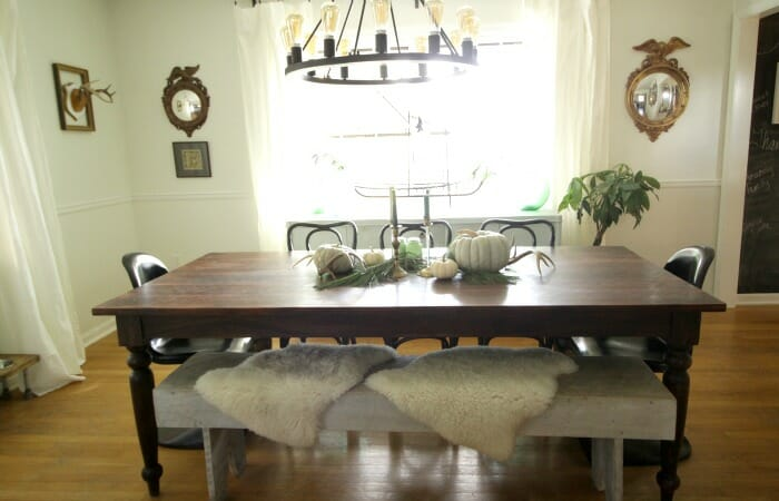 White Rustic & Vintage Dining Room with Soft Blues & Black Accents 8