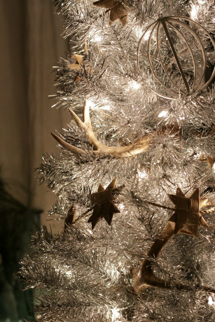 Tinsel Tree at night with rustic touches