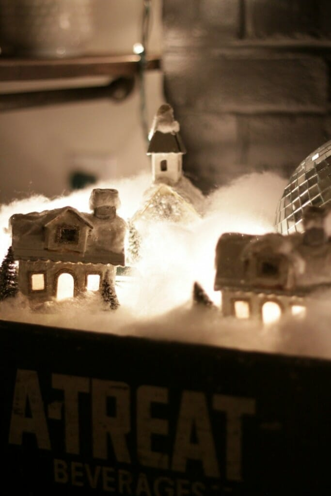Winter Village in Vintage Crate at night