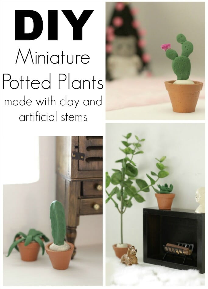 DIY miniature potted plants made with clay and artificial stems