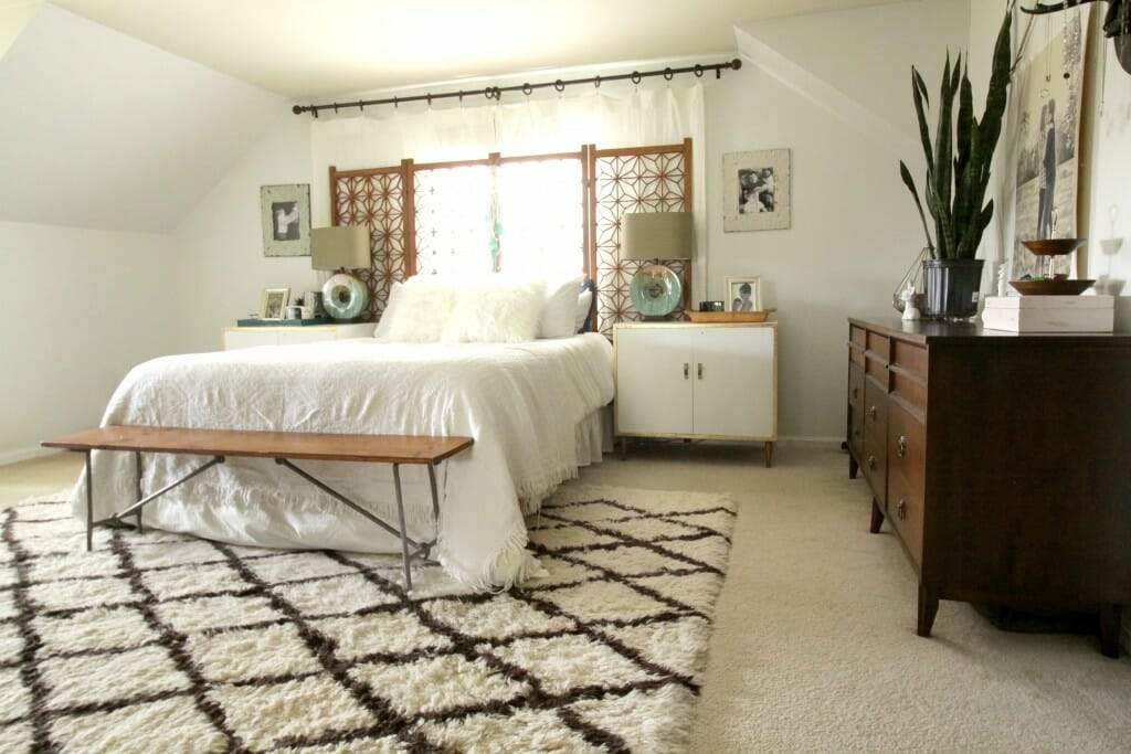 White Eclectic Bedroom with Vintage Midcentury accents