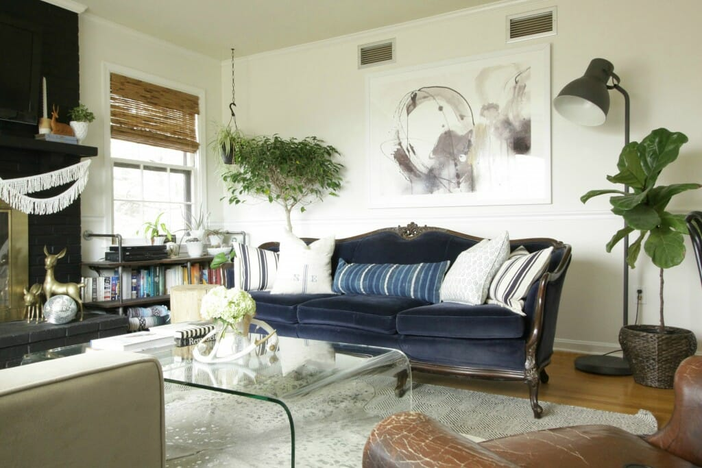 Modern Boho Living Room with Eclectic style- awesome art from Minted