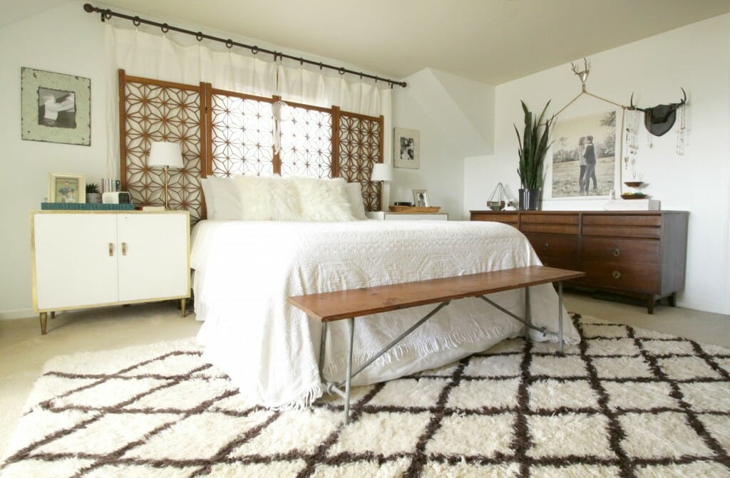 White Wood Boho Bedroom