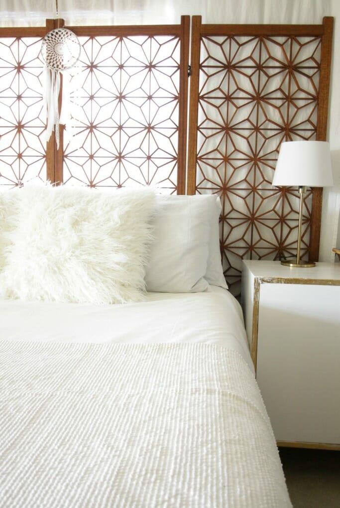 Beautiful Modern Boho White Wood BEdroom