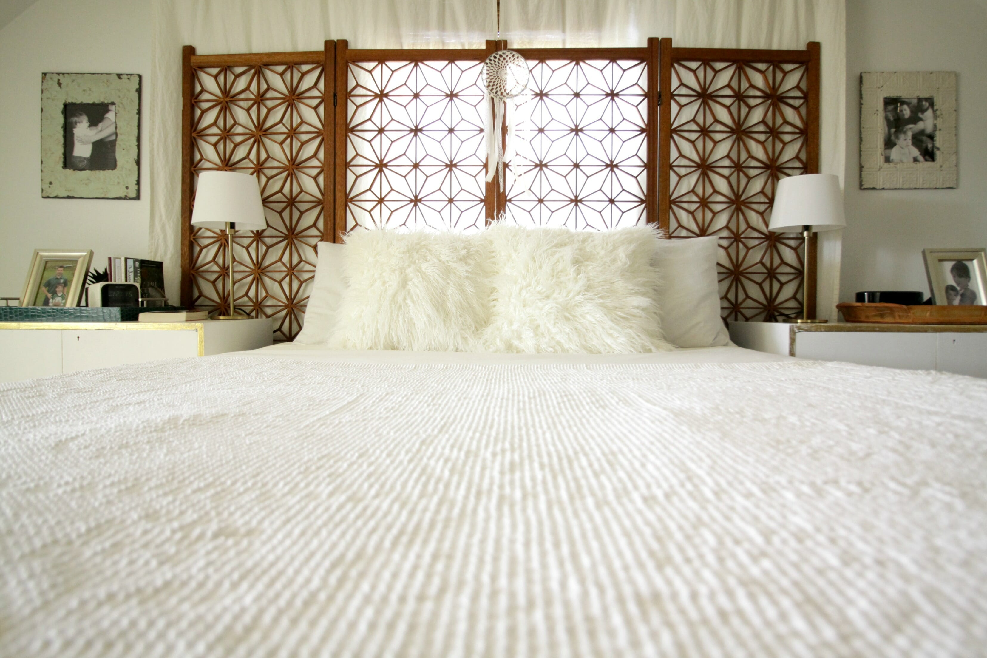 Vintage Memory Foam Matress Whote Wood Boho Bedroom