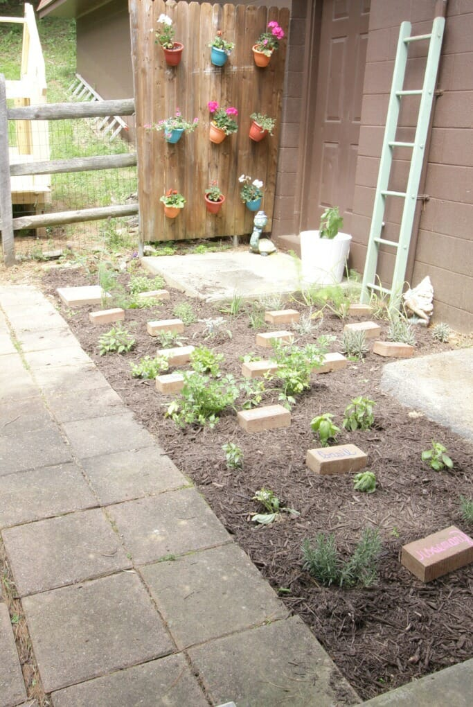Herb Garden with Upcycled Brick Plant Markers