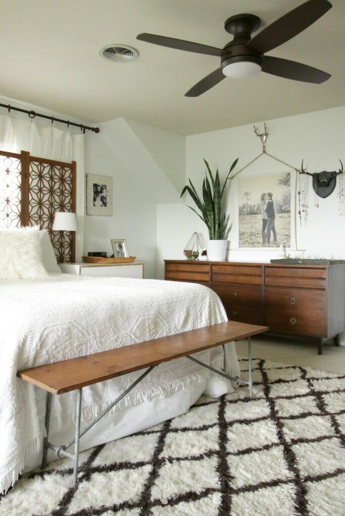 Modern Bohemian Bedroom with Lamps Plus Fan/Light Combo