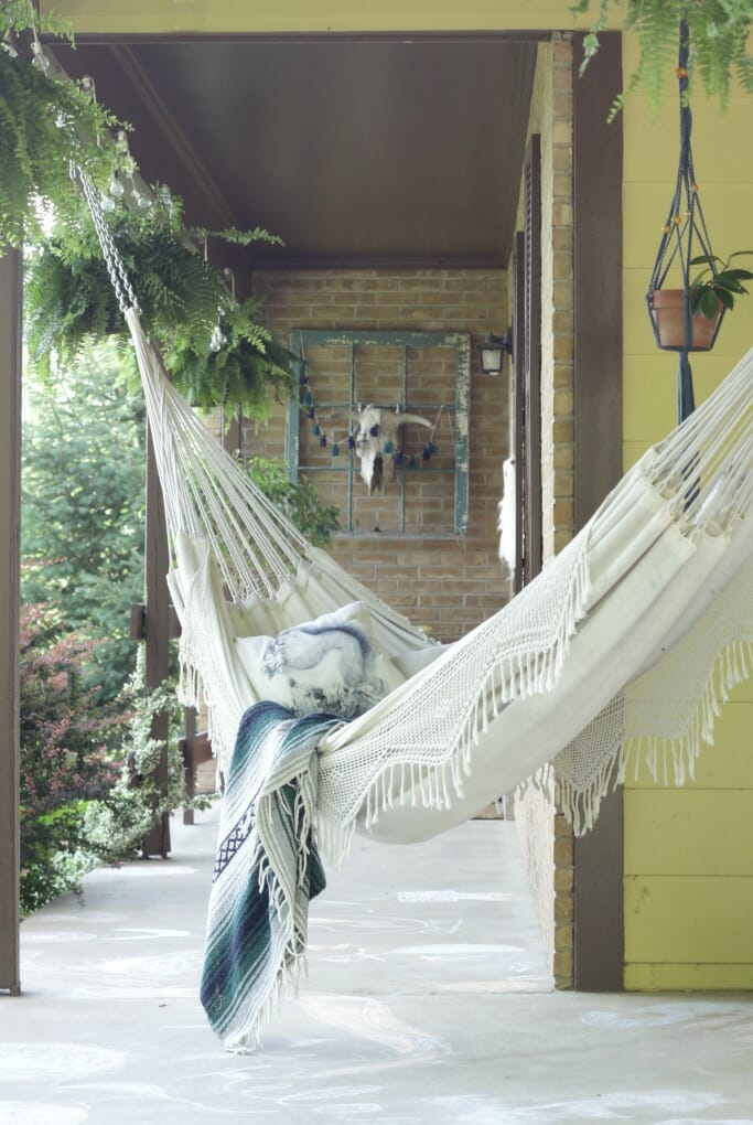 Boho hammock on hanging on porch