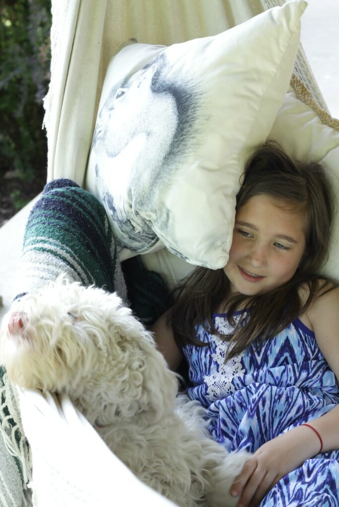 Emmy & Snowball in Hammock