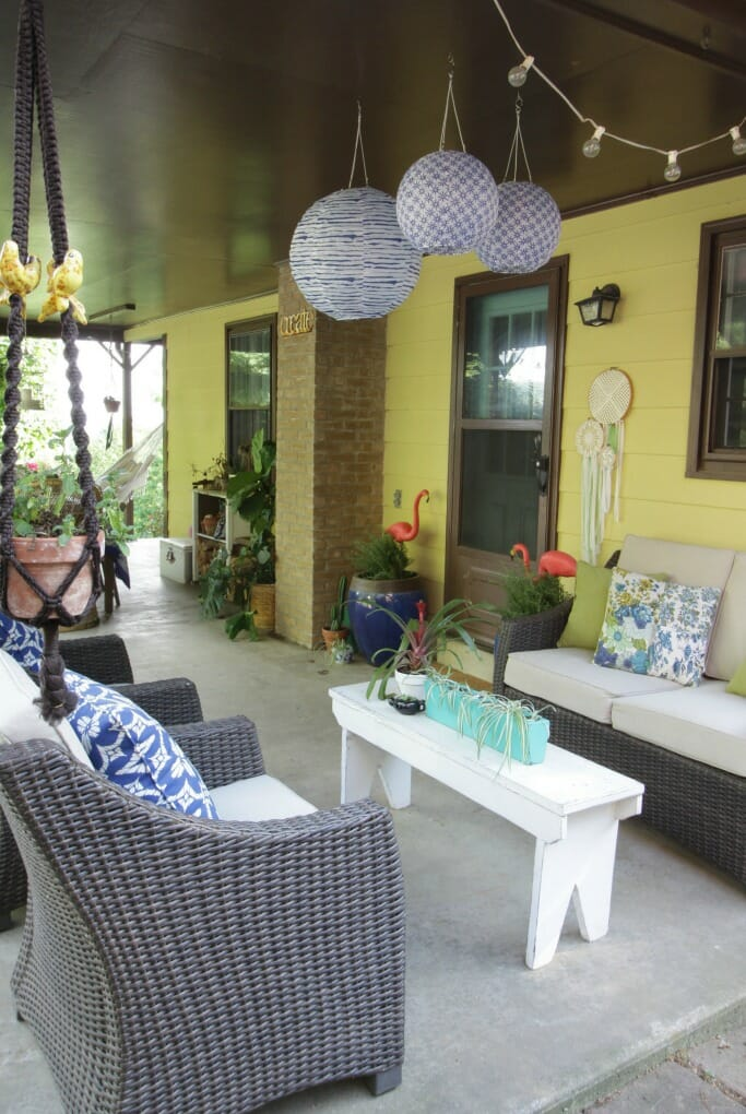 Bohemian Porch with blues and whites