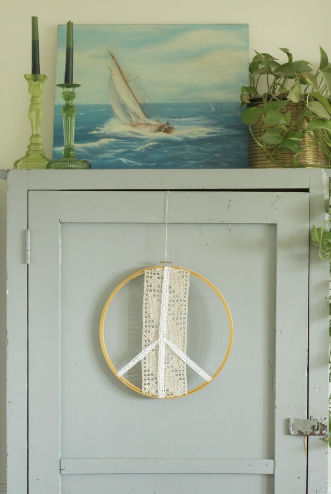 Boho Peace Hanging, Green Glass Candlesticks, Vintage Sailboat Painting