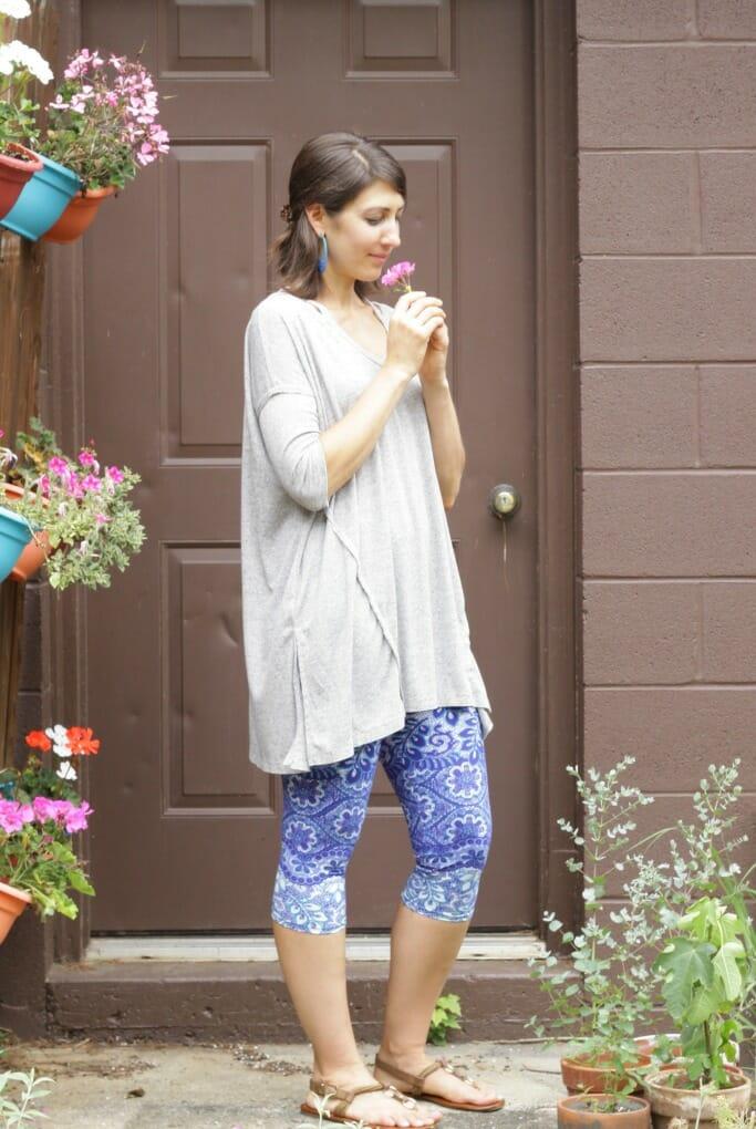 Blue Tile Capri Leggings and Shoulder Detail Tunic from Katie Grace