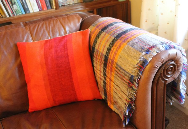 Orange Tweed Mill Blanket Knitted Wool Throw Tartan grey sofa retro dralon cushion 60s 70s
