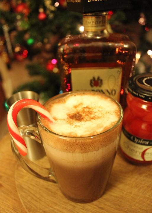 Cheeky cherry candy cane hot chocolate recipe