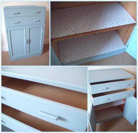 blue cabinet makeover project painted furniture diy blog post