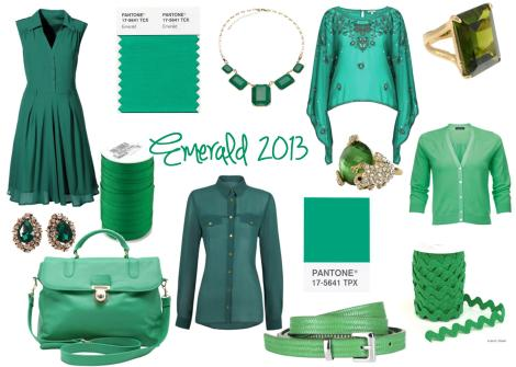 emerald pantone colour of the year 2013 green dress top bag belt accessories jewellery